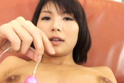 Azumi Haruski Hot Asian model gets cum on her big balloons