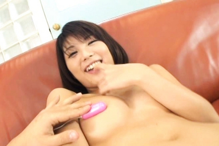 Azumi Haruski Hot Asian model gets cum on her big balloons
