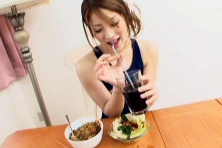 Yuu Mahiru Asian teen rubs and fingers her hot pussy