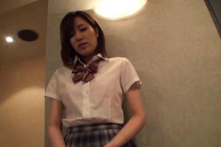Nice teen in school uniform Miyabi Tsukioka dick riding