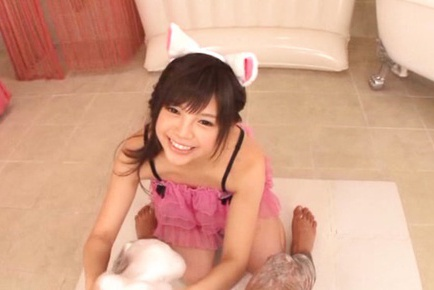 Busty asian teen Rina Itou pleases older hunk