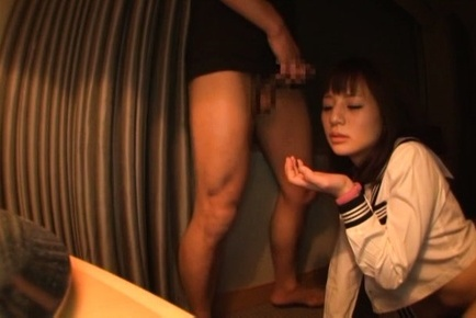 Juicy Asian schoolgirl Hitomi gives head and drills her wet slit