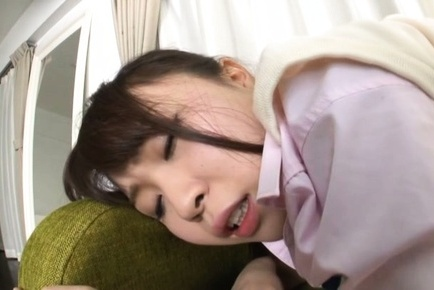 Delicious young Japanese minx Honoka Minami enjoys footjob