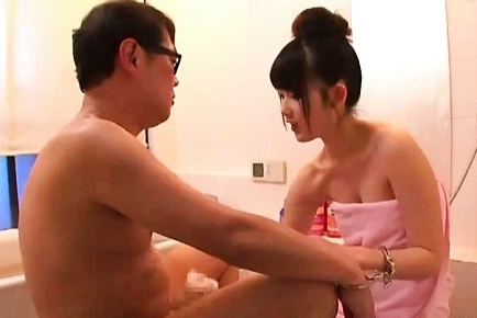 Hot Asian teen, Aya Miyazaki jerks off her boyfriend in the bathroom