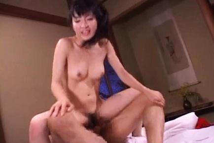 Horny Japanese AV Model gets her hairy milf pussy pounded